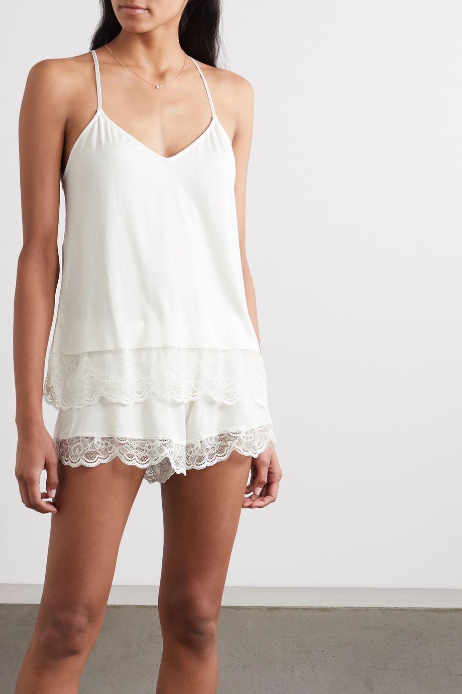 Eberjey Carmela Coucou lace-trimmed stretch-modal pajama set
