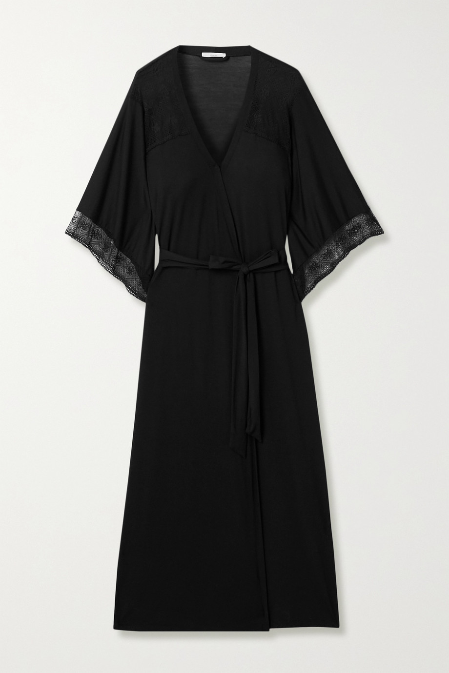 Eberjey Antoinette lace-paneled stretch-modal robe