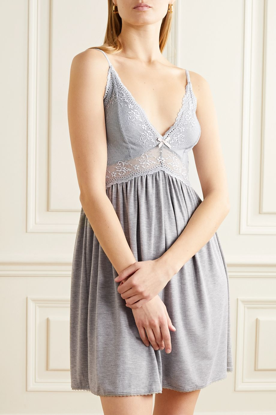 Eberjey Colette Mademoiselle lace-paneled stretch-modal chemise