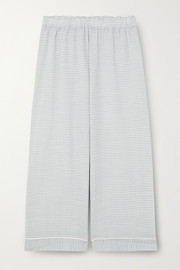 Eberjey Nautico cropped striped cotton-blend pajama pants