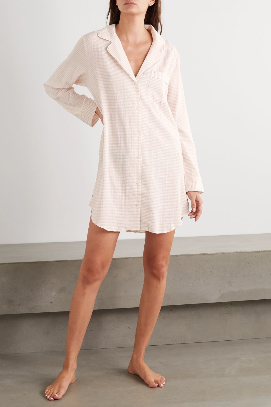 Eberjey Nautico striped cotton-blend voile pajama shirt