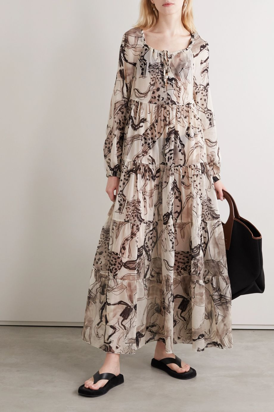 Stella McCartney Robe longue en mousseline de coton et de soie mélangés imprimée