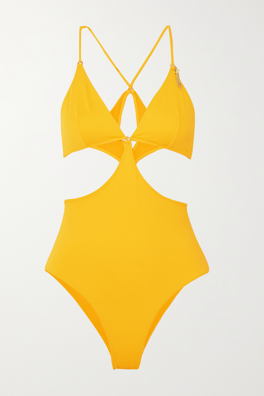 Stella McCartney Embellished cutout swimsuit