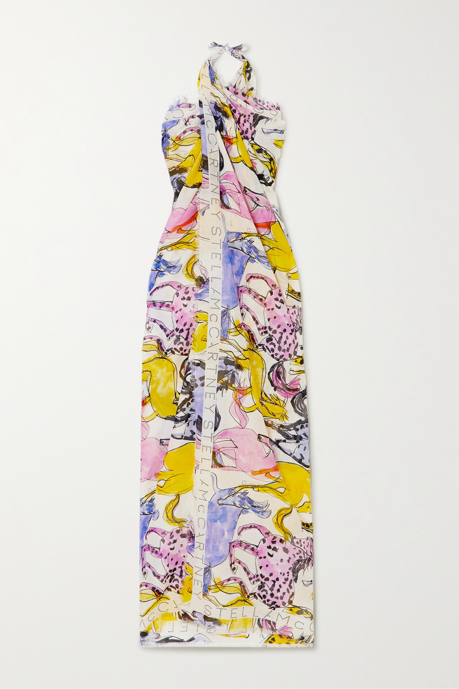 Stella McCartney | Fringed printed cotton and silk-blend pareo | NET-A-PORTER.COM