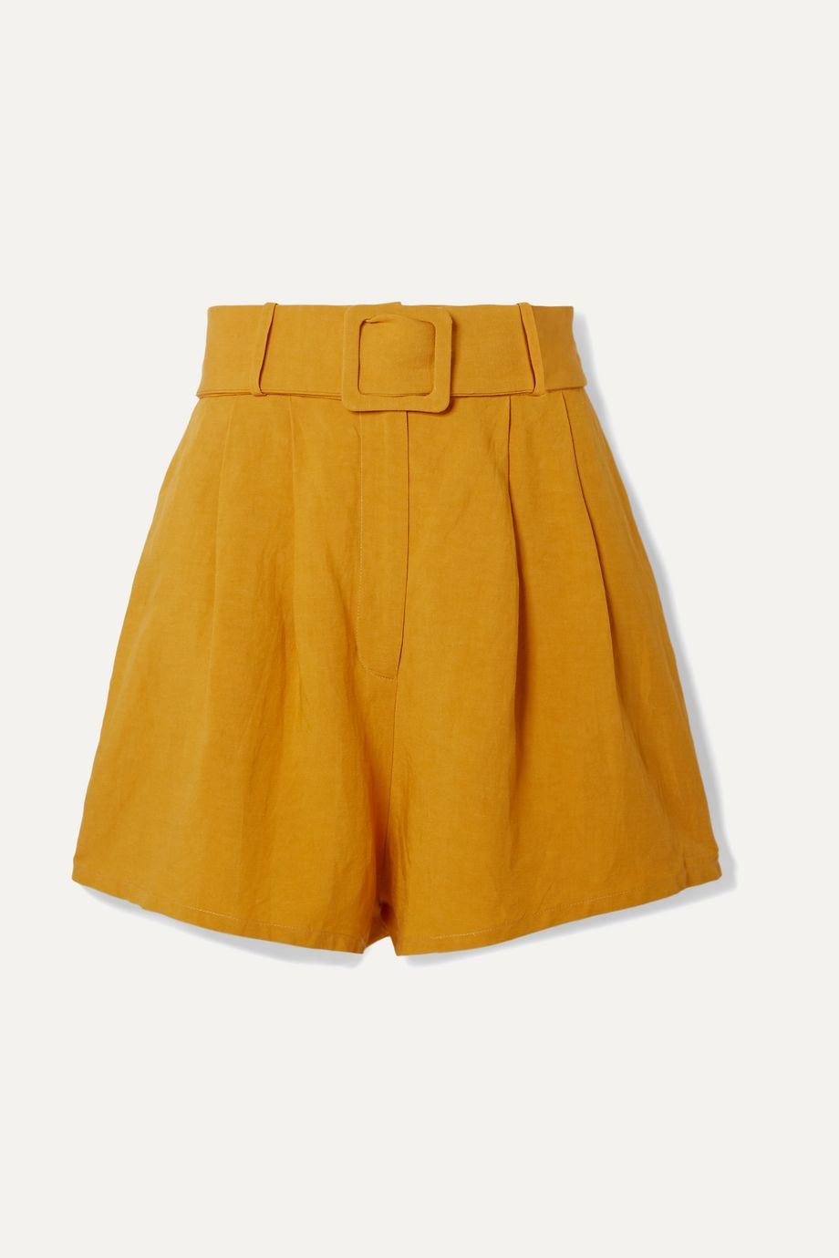 Adriana Degreas Belted pleated linen shorts