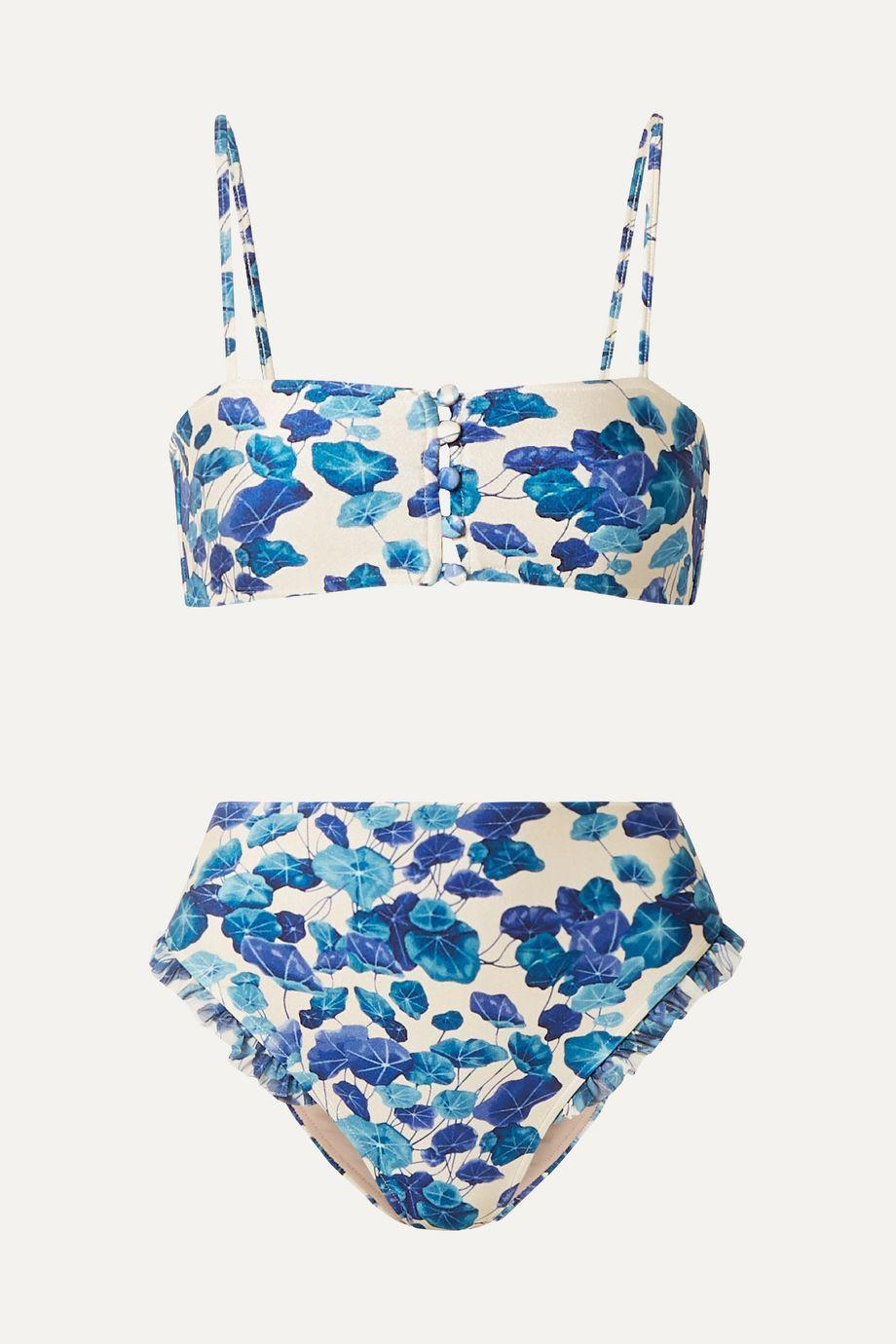 Adriana Degreas Hot Pants ruffled mesh-trimmed floral-print bikini