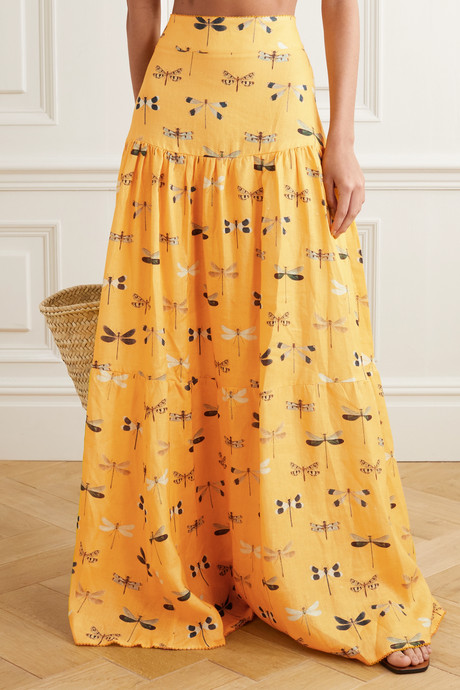 Anis printed linen maxi skirt
