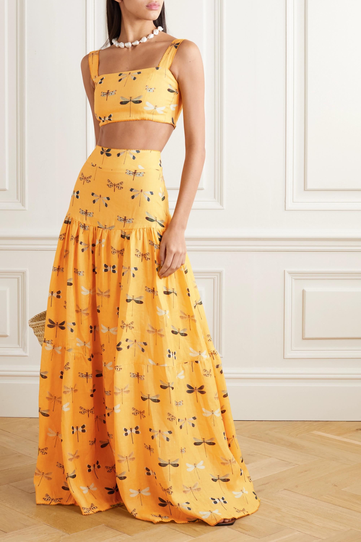 Agua by Agua Bendita Anis printed linen maxi skirt