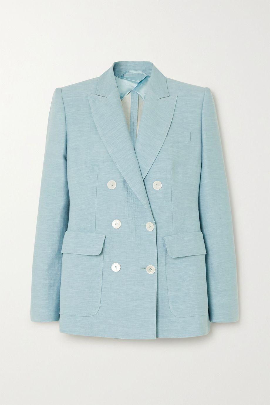 Max Mara Ottuso double-breasted linen and silk-blend blazer