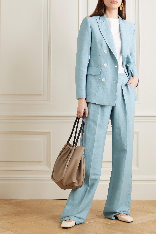 lungimiranza topo Sorridi  Light blue Ottuso double-breasted linen and silk-blend blazer | Max Mara |  NET-A-PORTER