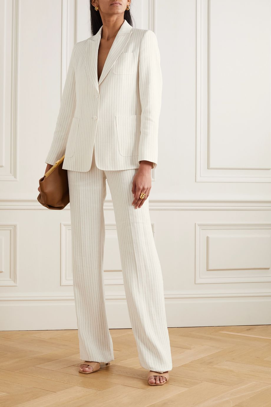 Max Mara Timor pinstriped linen and silk-blend blazer
