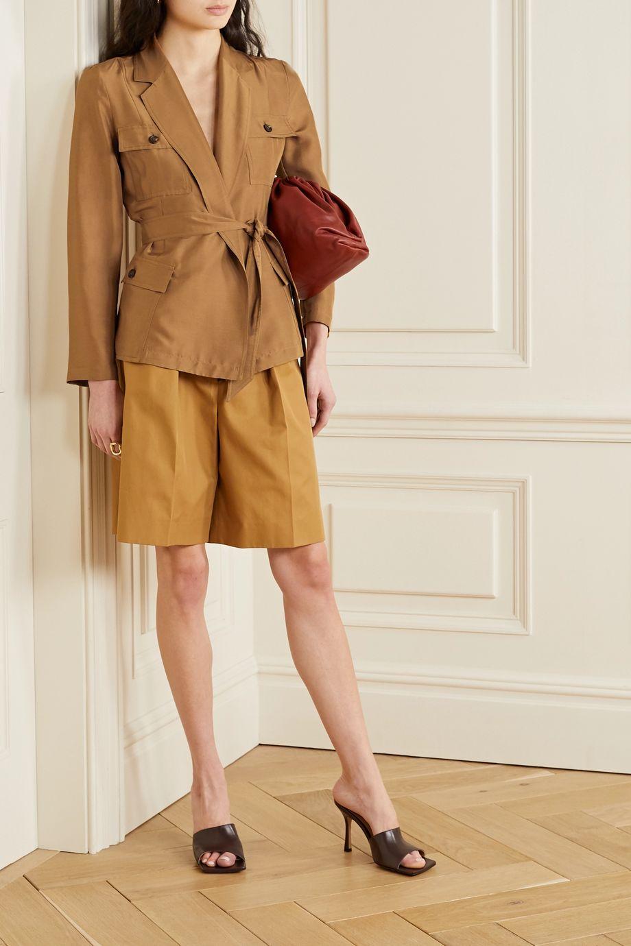 Max Mara Palmi belted silk-shantung jacket