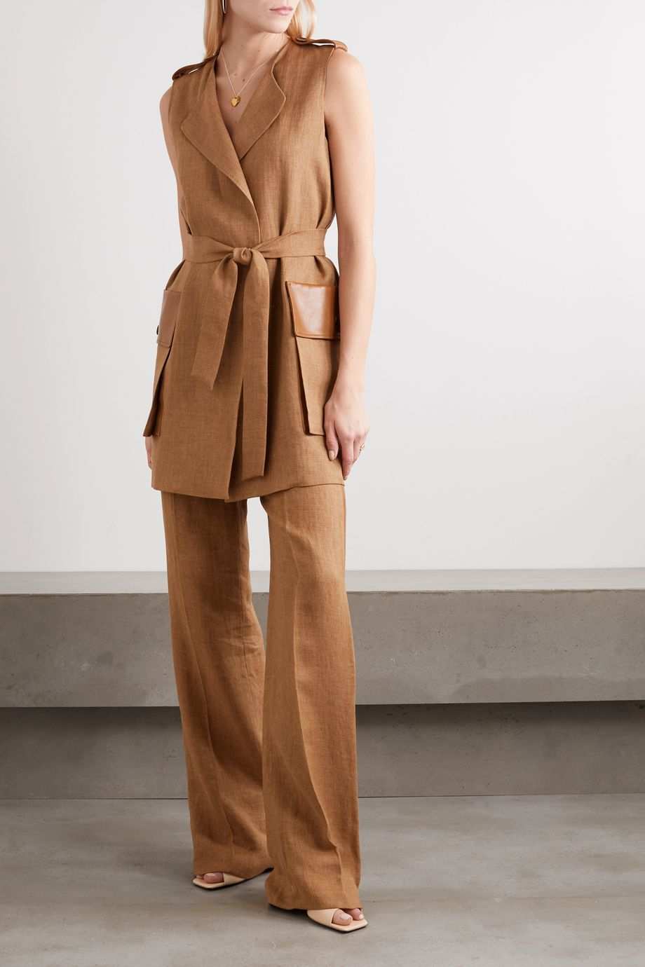 Max Mara Danza belted leather-trimmed linen vest