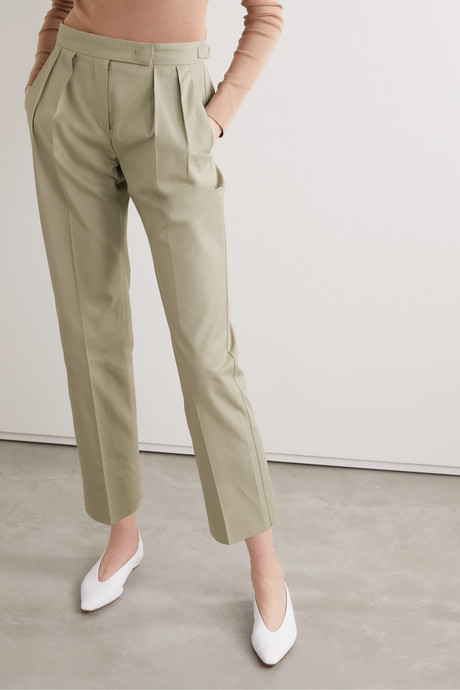 Lucas cropped pleated cotton-twill straight-leg pants