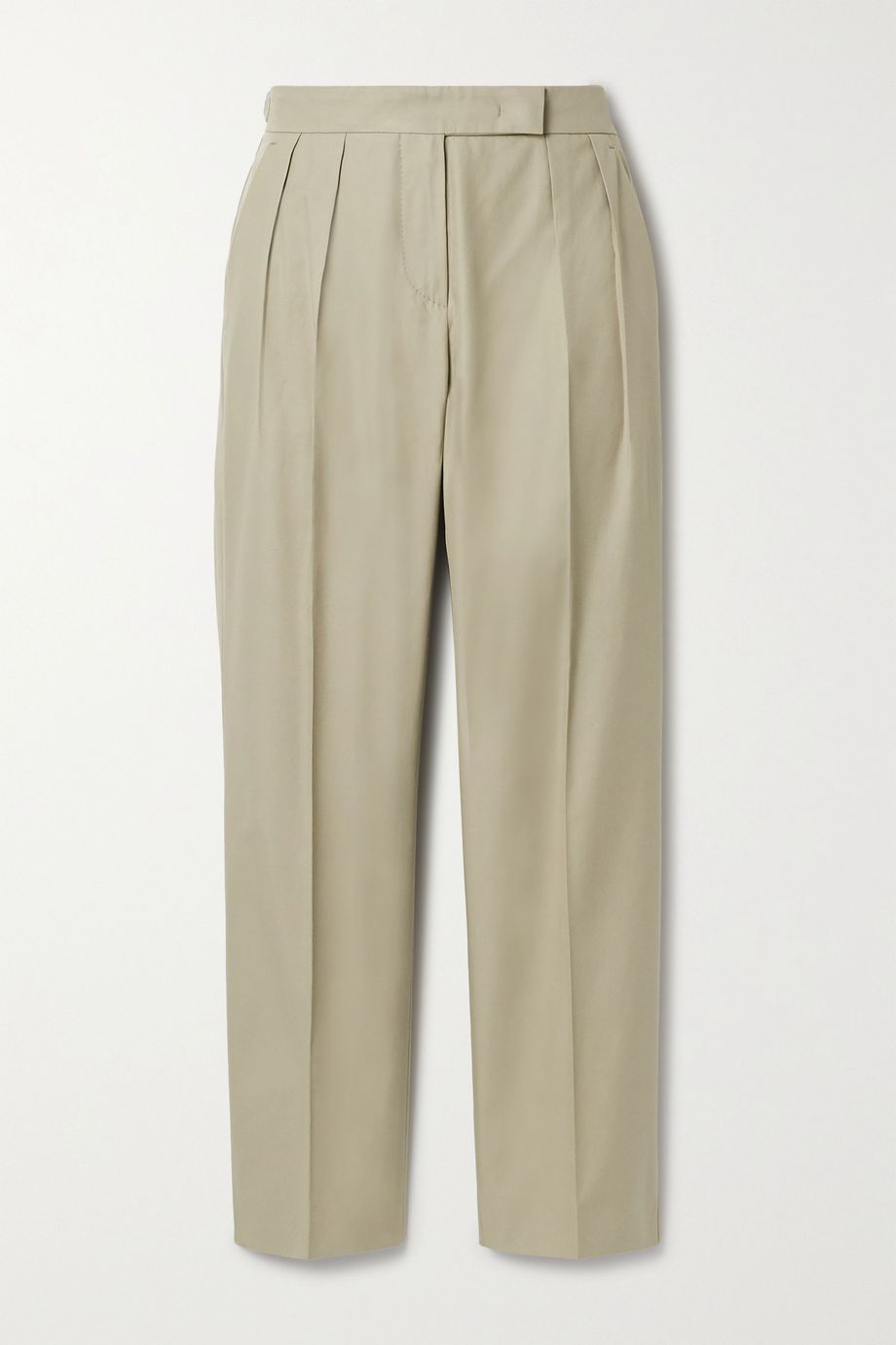 Max Mara Lucas cropped pleated cotton-twill straight-leg pants
