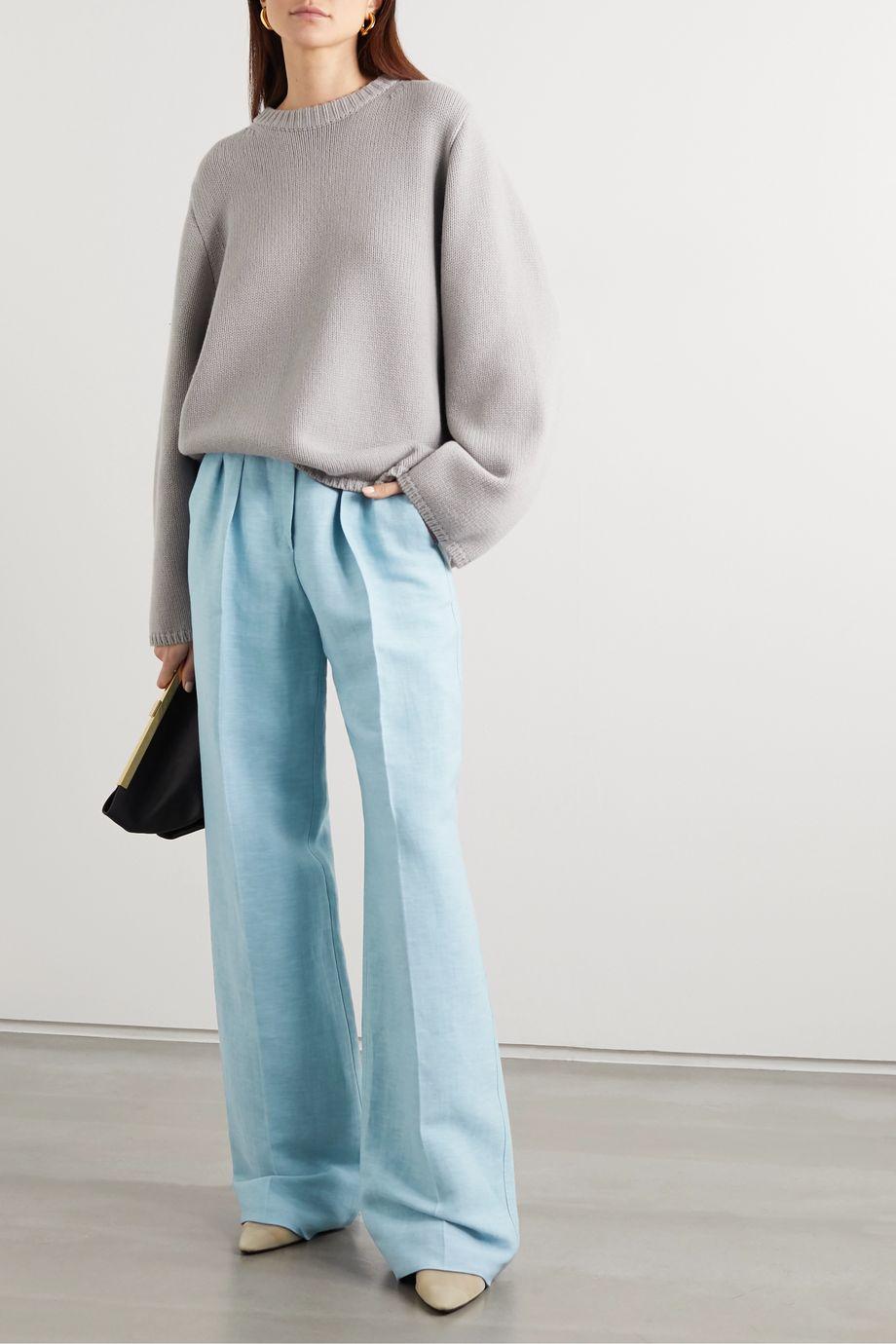 Max Mara Nembo linen and silk-blend twill wide-leg pants