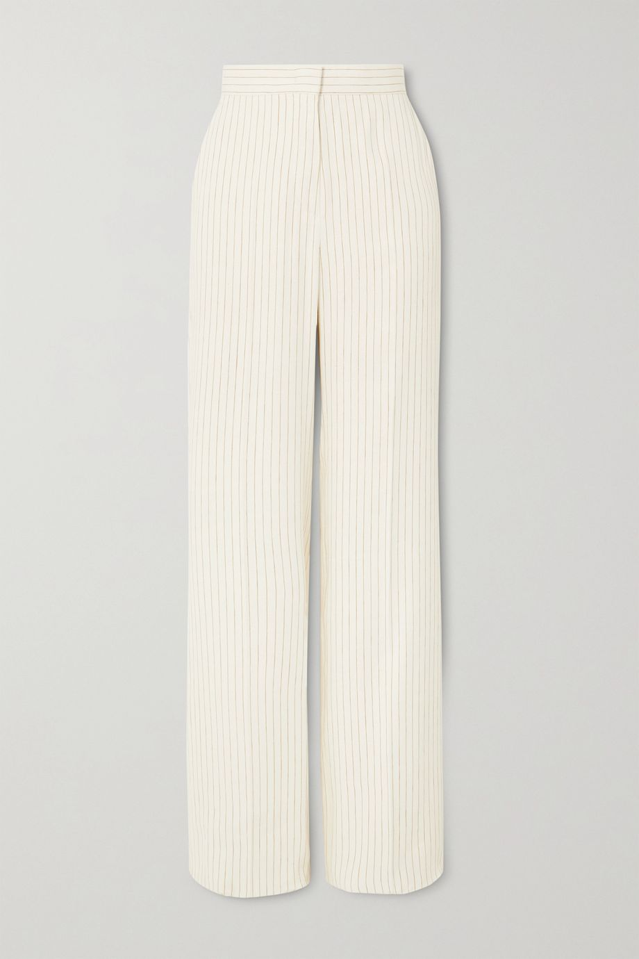 Max Mara Classe pinstriped linen and silk-blend straight-leg pants