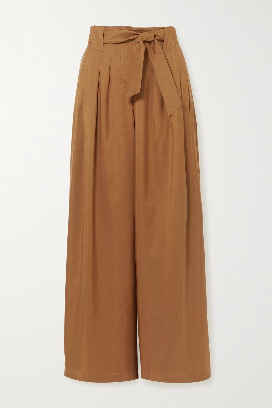 Max Mara Arten pleated silk-shantung wide-leg pants