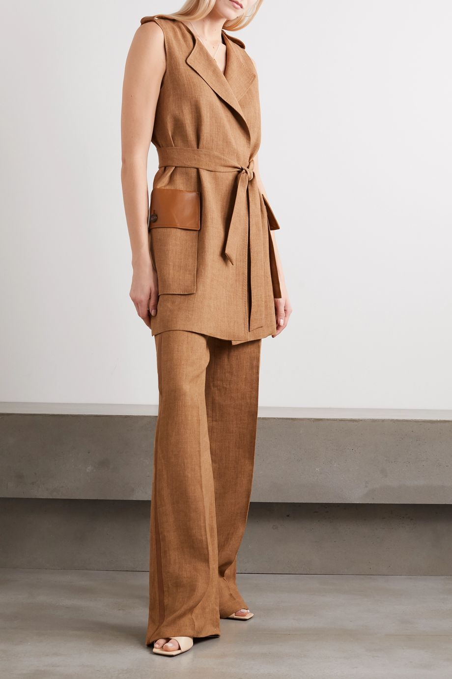 Max Mara Salubre leather and satin-trimmed linen wide-leg pants