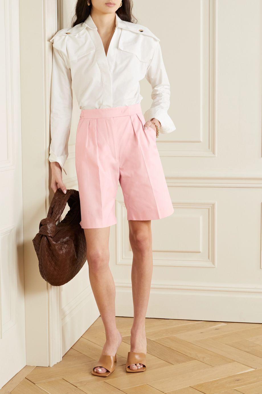 Max Mara Safari pleated cotton-twill shorts