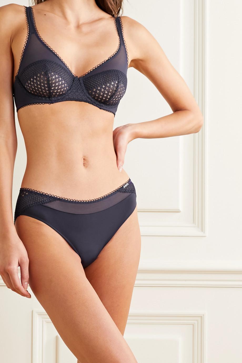 Calvin Klein Underwear Stretch-tulle, crochet and satin underwired soft-cup bra
