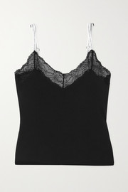 Calvin Klein Underwear Lace-trimmed stretch cotton and modal-blend jersey camisole