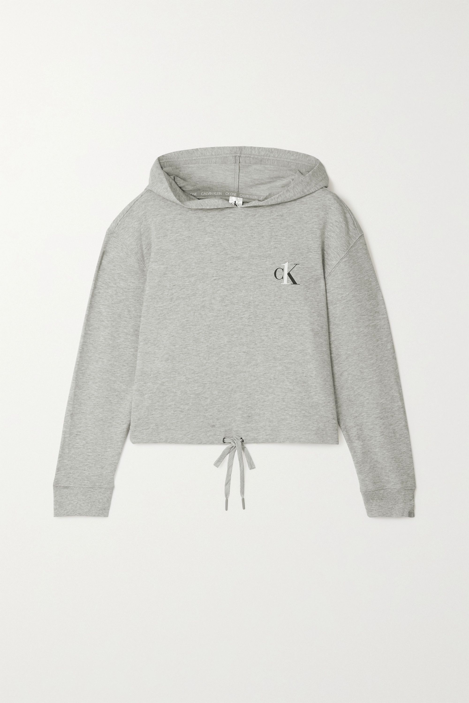 Calvin Klein Underwear 印花混色棉质混纺平纹布帽衫