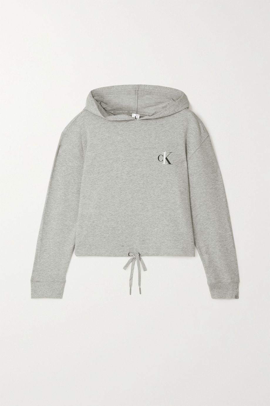 Calvin Klein Underwear Printed mélange cotton-blend jersey hoodie