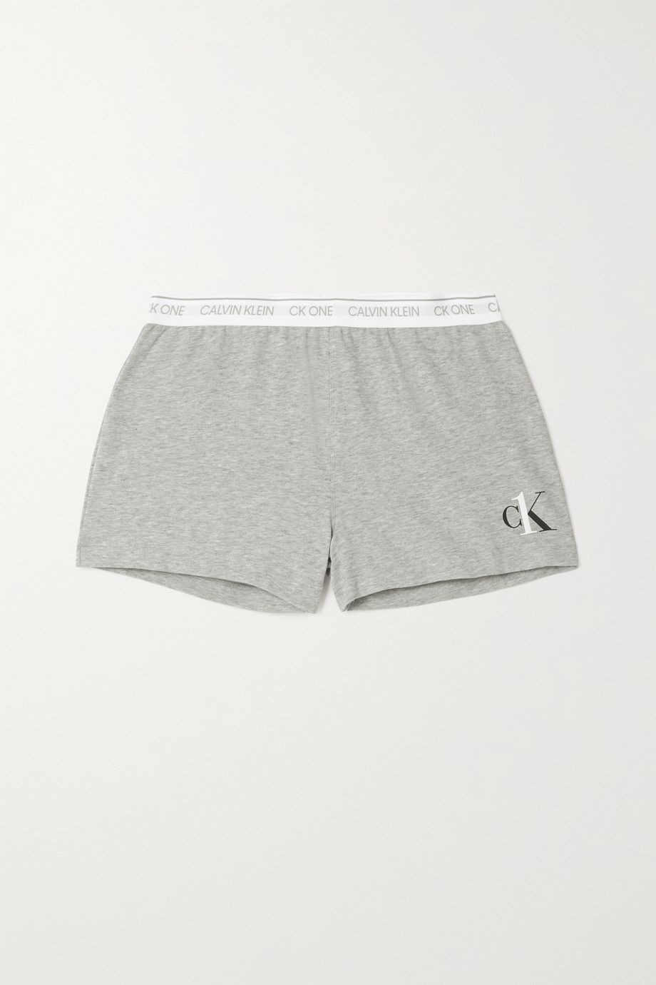 Calvin Klein Underwear Printed mélange cotton-blend jersey shorts