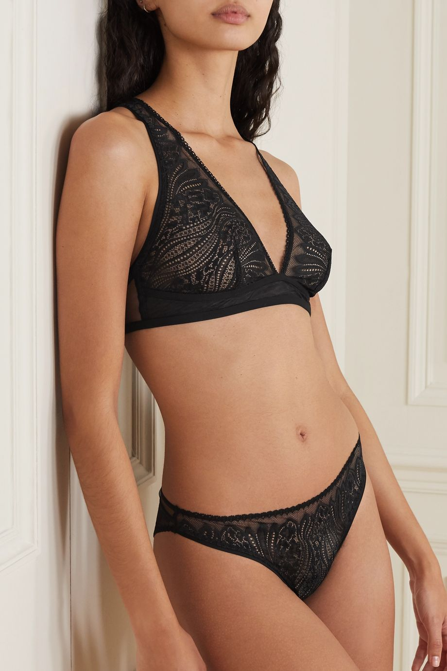Calvin Klein Underwear Picot-trimmed stretch-lace and tulle soft-cup bralette