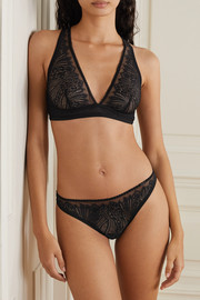 Calvin Klein Underwear Picot-trimmed stretch-lace and tulle briefs