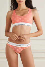 Calvin Klein Underwear Polka-dot flocked stretch-tulle soft-cup bra