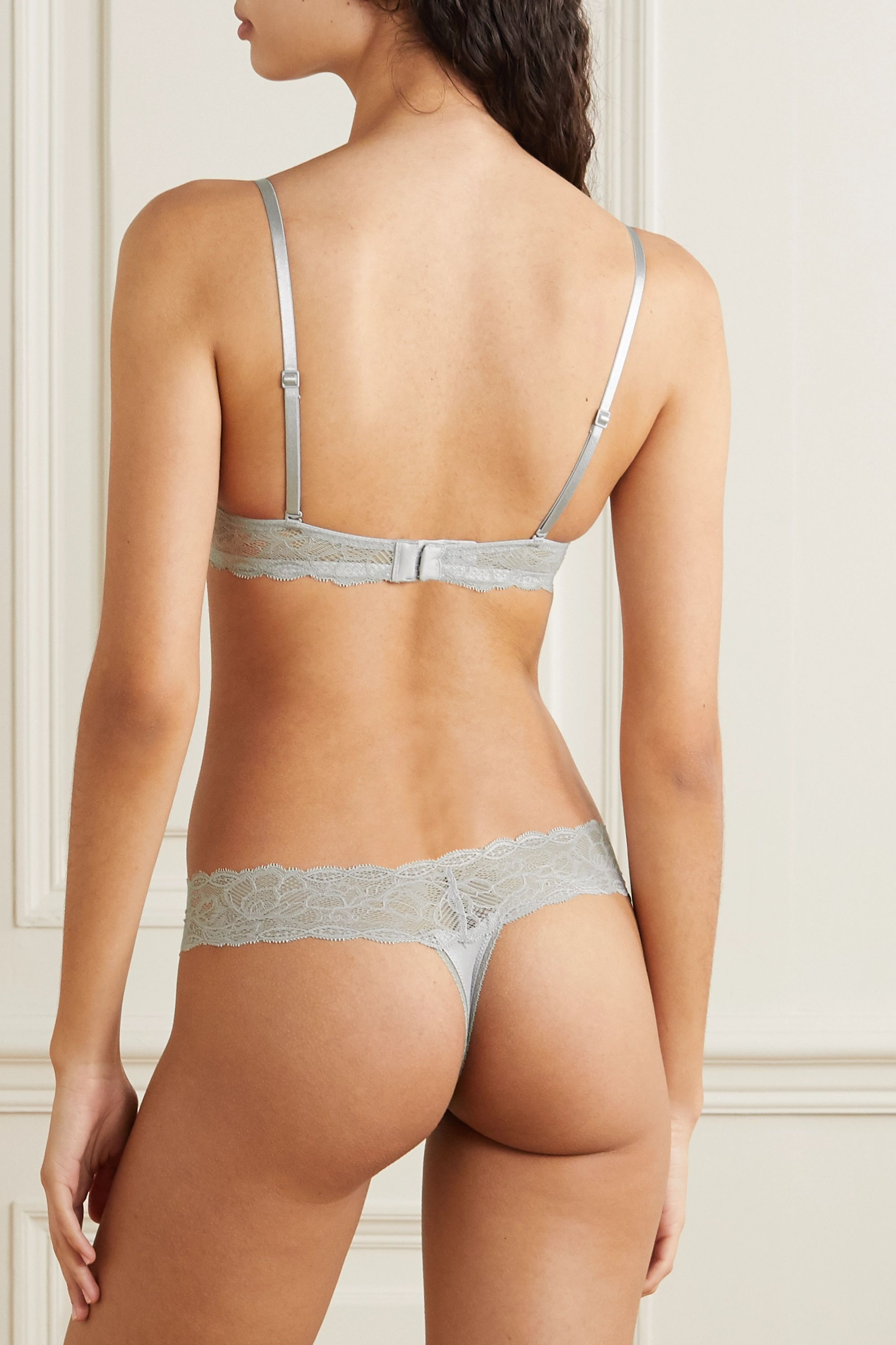 Calvin Klein Underwear Lace and jersey thong