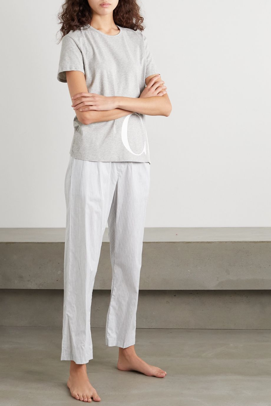 Calvin Klein Underwear Striped cotton-voile pajama pants