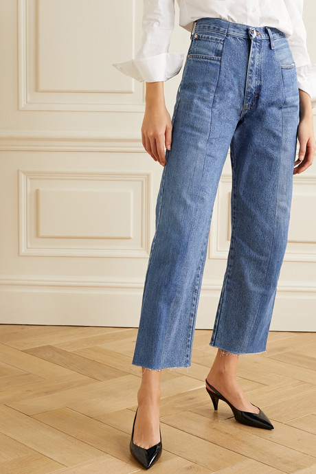 The Twin cropped distressed high-rise straight-leg jeans