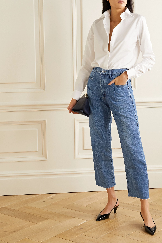 E.L.V. Denim The Boyfriend frayed high-rise wide-leg jeans