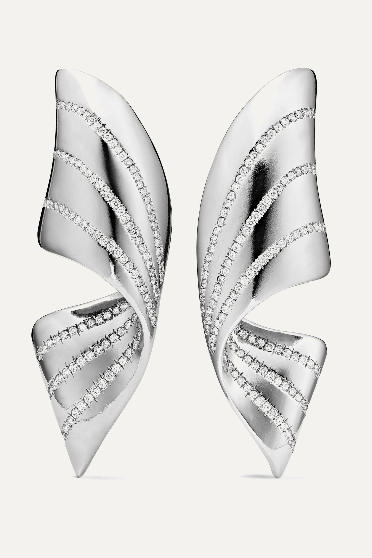 G by Glenn Spiro Ribbon titanium diamond earrings