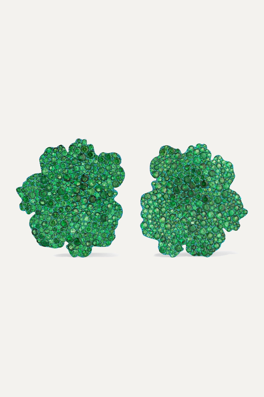 G by Glenn Spiro Autumn Leaf titanium and 18-karat white gold multi-stone earrings