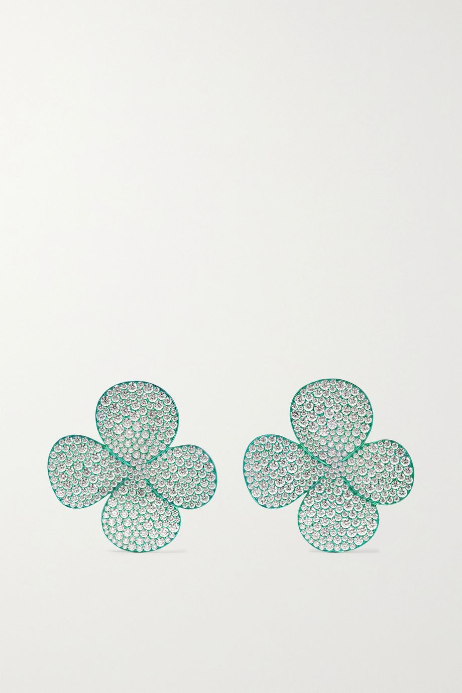 G by Glenn Spiro Clover Leaf titanium diamond earrings