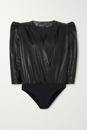 Zeynep Arcay Wrap-effect leather bodysuit