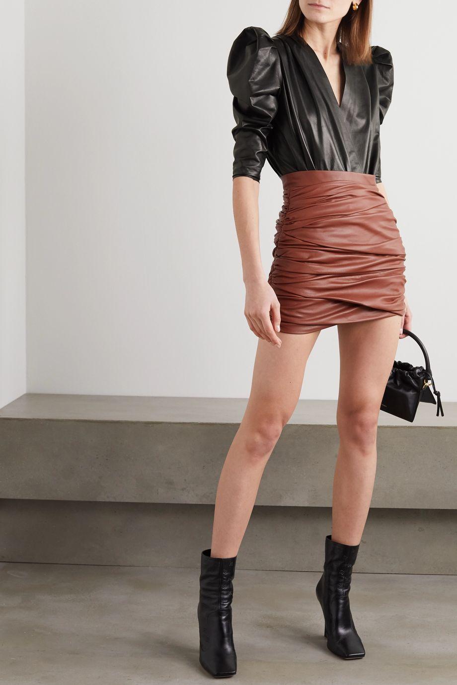 Zeynep Arcay Wrap-effect leather bodysuit