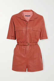 Zeynep Arcay Belted leather playsuit