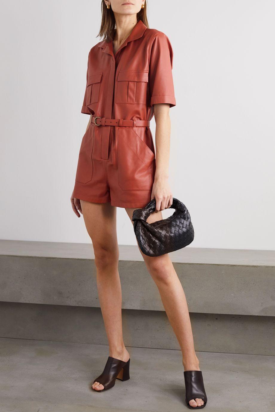 Zeynep Arcay Belted leather playsuit