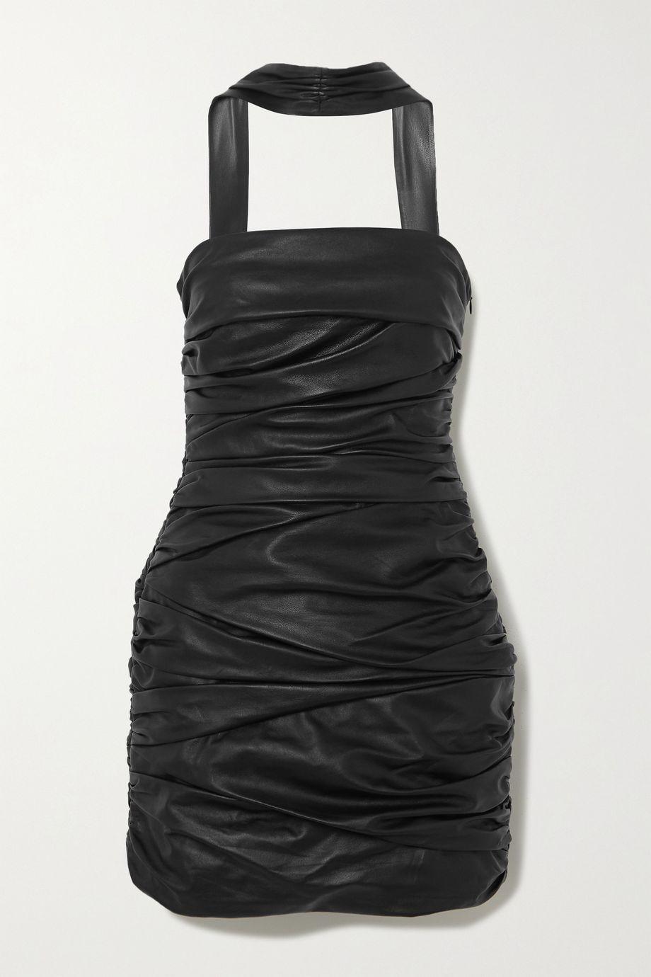 Zeynep Arcay Cutout ruched leather mini dress