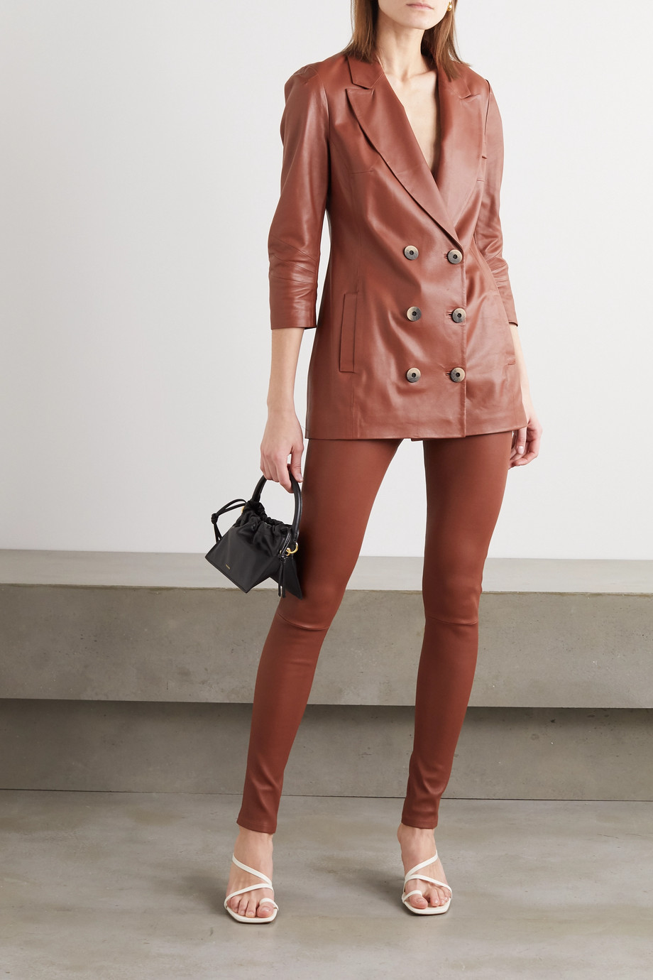 Zeynep Arcay Double-breasted leather blazer
