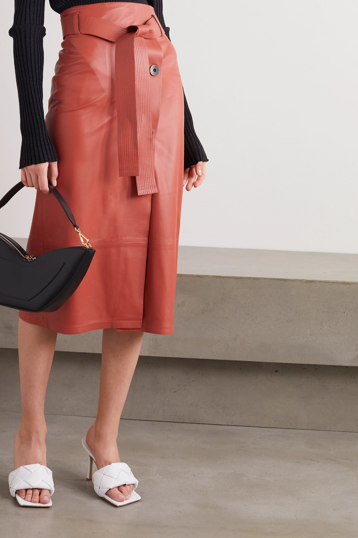Zeynep Arcay Belted wrap-effect leather midi skirt