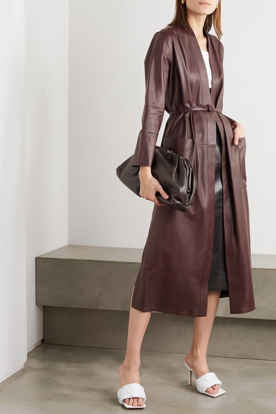 Zeynep Arcay Belted leather midi dress