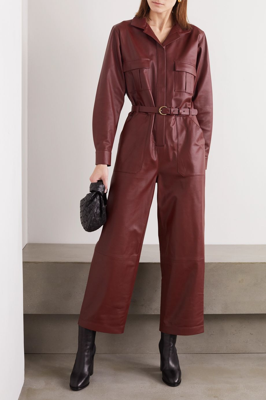 Zeynep Arcay Belted leather jumpsuit