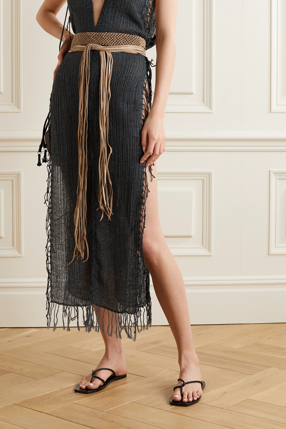 Caravana Balche fringed braided leather belt