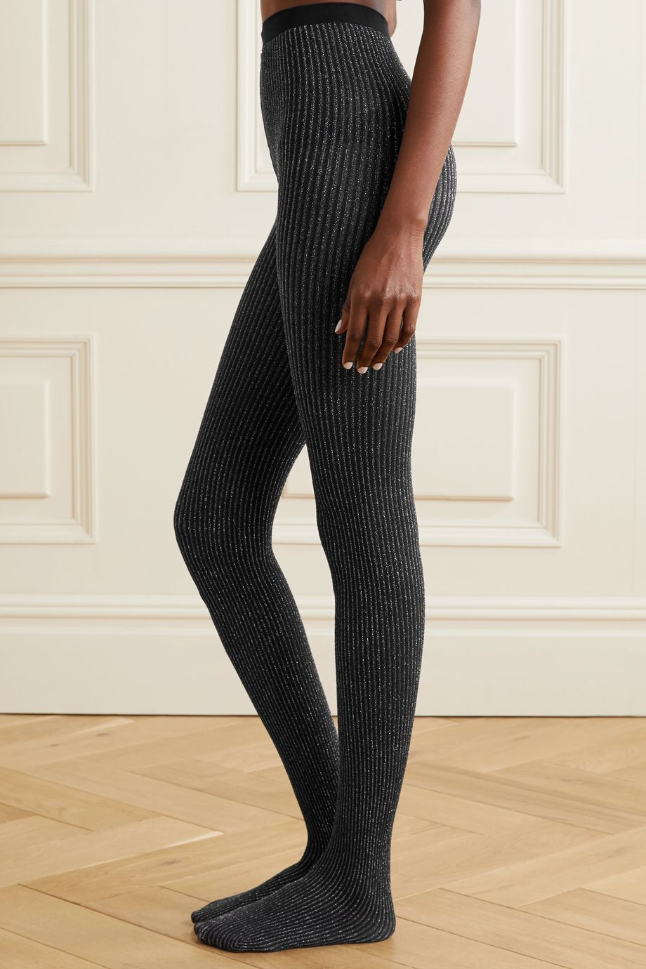 Wolford Dora metallic ribbed 100 denier tights
